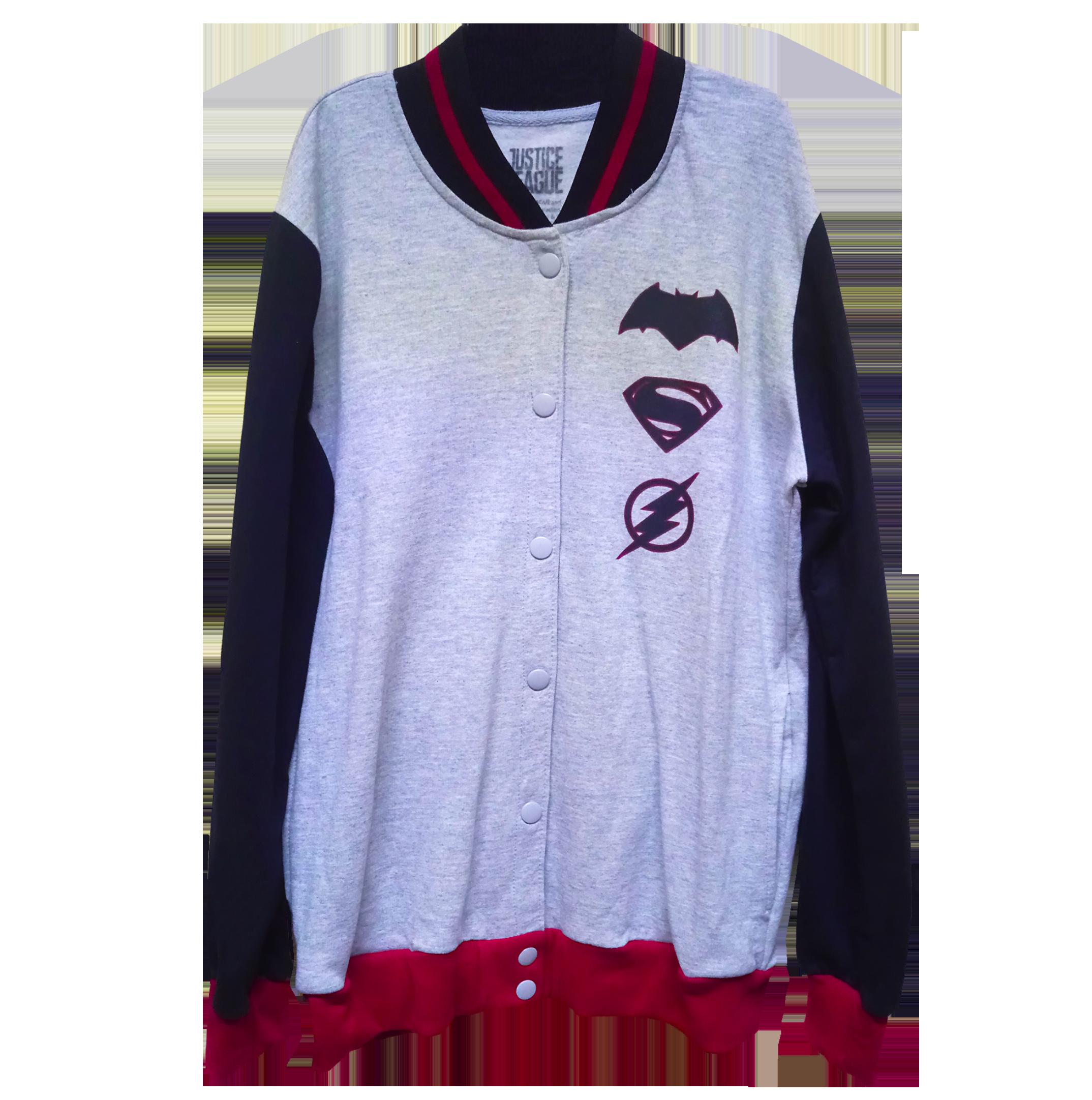 Chamarra oficial de Justice League para caballero color jaspe en el cuerpo  y mangas negras. Puños y borde en rojo 2ad1a16e83104