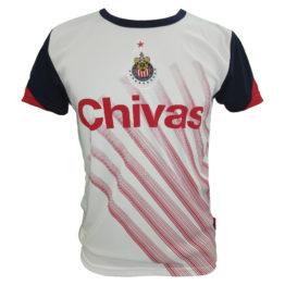 Playera Oficial de Chivas parra caballero. Color blanco con rayas rojas  diagonales en la parte frontal. 100% poliéster. Ventilación en las mangas  para mayor ... c3a7c9e5f5899